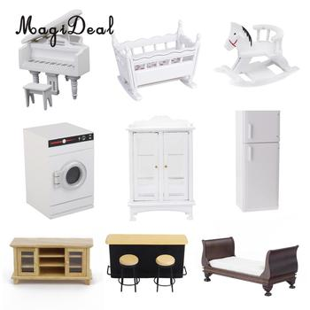 1/12 Scale Wooden Dollhouse Miniature Mini Piano Cabinet Chairs Modern Furniture Decoration for Dolls Living Room Accessories