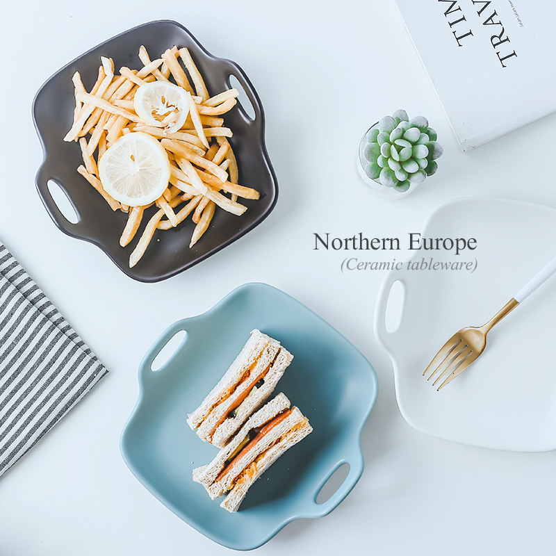 Northern Europe Long Square Ceramic Plate Originality Dish Food Breakfast Disc Hotel Shop Plate AKUHOME in Dishes Plates from Home Garden