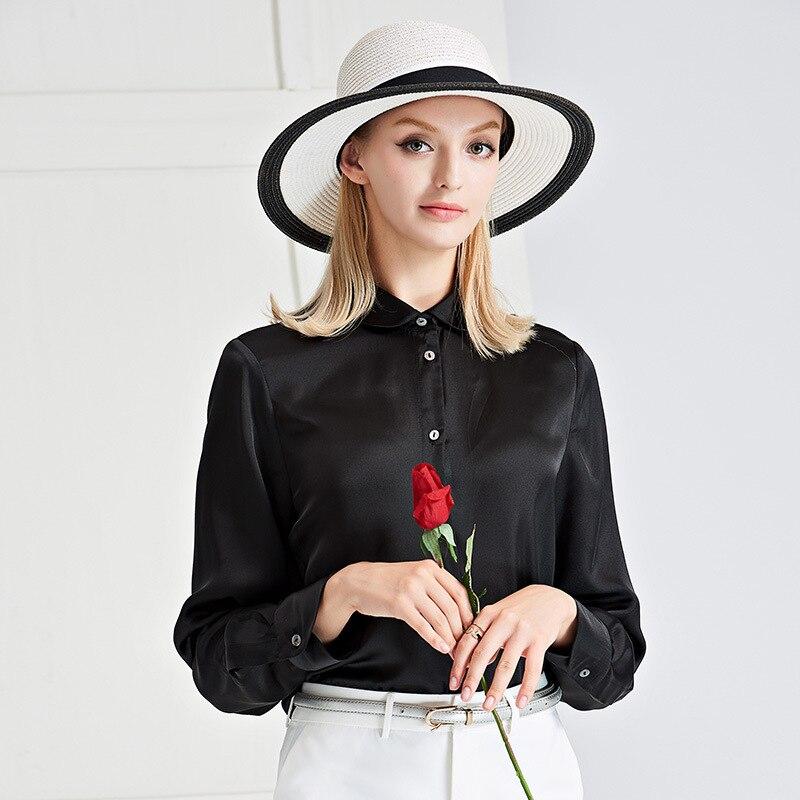 Unique Collar 2018 Soie Nouvelle Solide Chemises Automne Down Longues Turn Poitrine Manches Black Chemisier Femmes HqxIHtAW0
