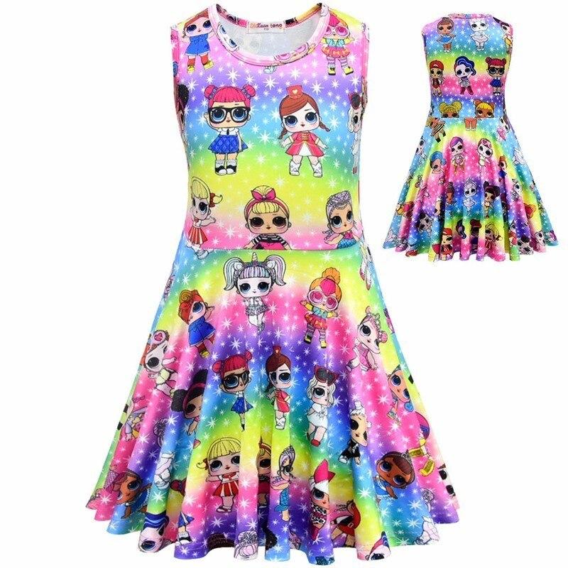 Girls Surprise Ruffle Princess Dress Kids Summer Rainbow Sleeveless Jacquard Skirt Halloween Cute Cartoon Doll Cosplay Costume