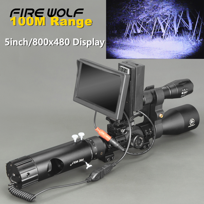 100M Range DIY Digital Night Vision Rilfe Scope with LED Torch for Night Hunting Gear Night Vision Sight Hot Sale-in Night Visions from Sports & Entertainment