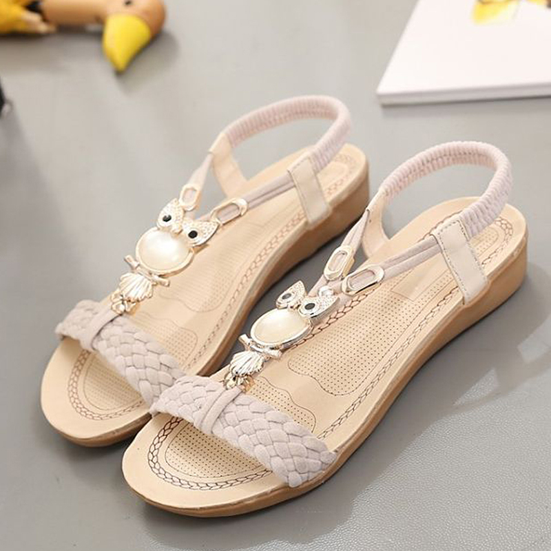 Gladiator Sandals Flip-Flops Beach-Shoes Summer New on Mujer Women Owl-Slip