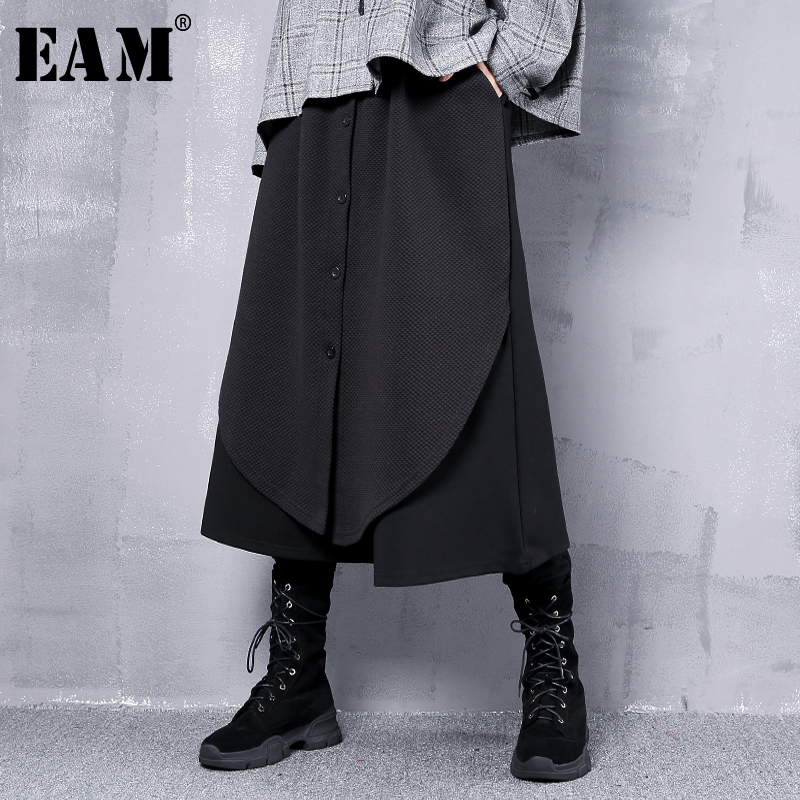 [EAM] 2019 New Spring High Elastic Waist Black Loose False Two Button Stitch Wide Leg Pants Women Trousers Fashion JI764