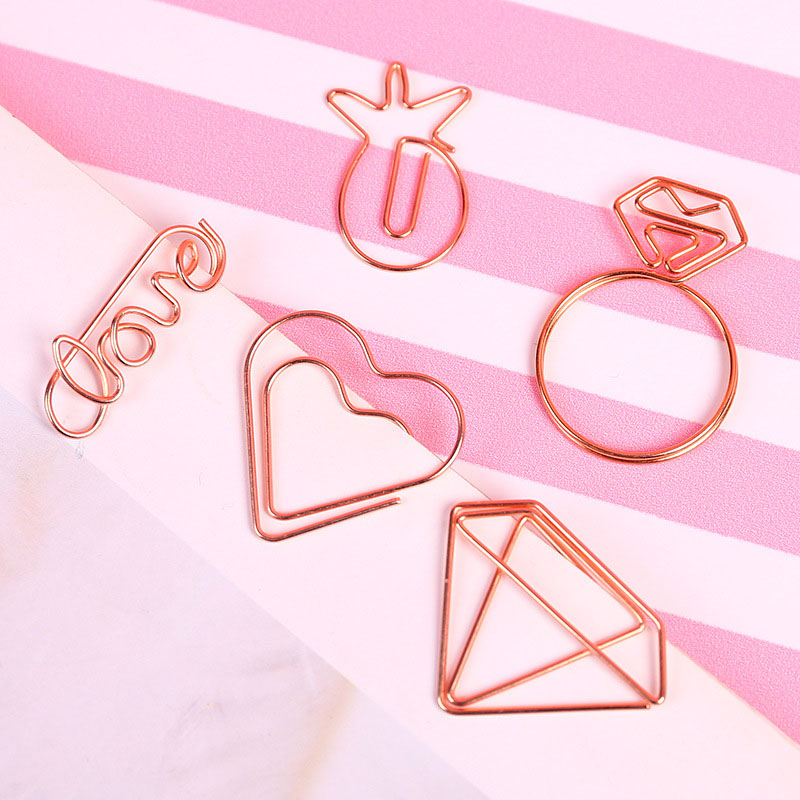 5 Pcs/lot Diamond Letter Paper Clips Mini Metal Clips Cute Kawaii Paperclips Korean Stationery School Office Supplies
