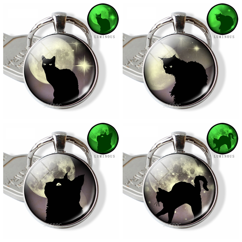 Black Cat Glowing Eyes Full Moon Photo Keychain Luminous Glass Dome Cabochon Jewelry Animal DIY Key Chain Ring Pendant Gifts