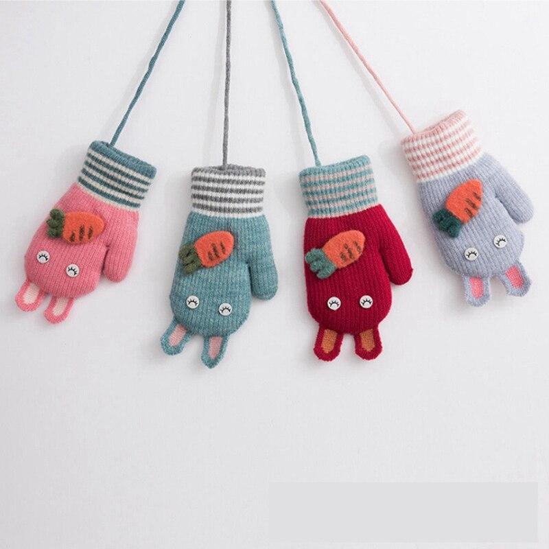 Zuversichtlich Kinder Winter Warme Handschuhe Jungen Mädchen Weiche Feste Strick Fäustlinge Handschuhe