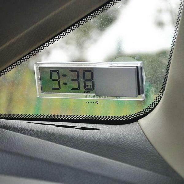 Car Clock Mini Transparent LCD Display Digital with Sucker Glass Car  electronics Ornaments accesorios para moto Pakistan