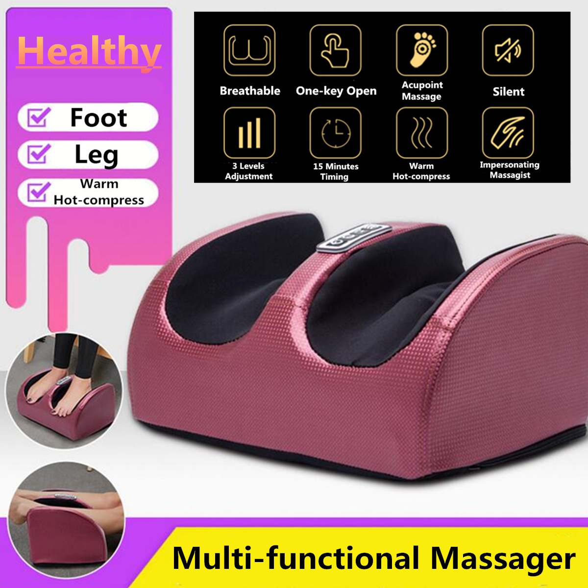 220V Electric Heating Foot Body Massager Relaxation Kneading Roller Vibrator Machine Reflexology Calf Leg Pain Relief Relax220V Electric Heating Foot Body Massager Relaxation Kneading Roller Vibrator Machine Reflexology Calf Leg Pain Relief Relax