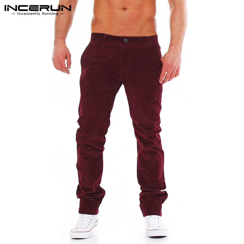 INCERUN Winter Men Corduroy Pants Button Loose Solid Warm Straight Pants Casual Fashion Trousers Leisure Business Pants Men 2019