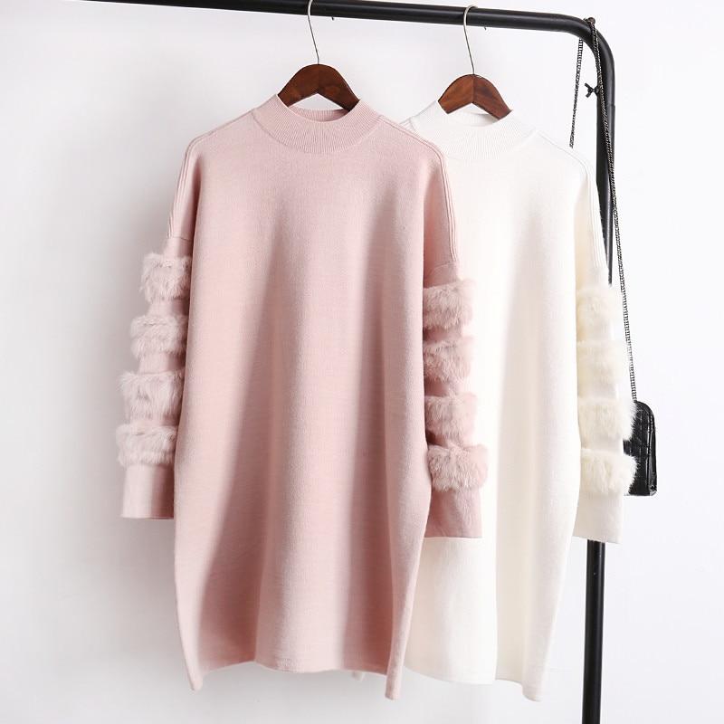 Pullover Pullover Einfach Lanmrem 2018 Neue Ankunft Owmen Herbst Winter Mode Oansatz Langarm Patchwork Villus Pullover Weibliche Pullover Kleid Sa937