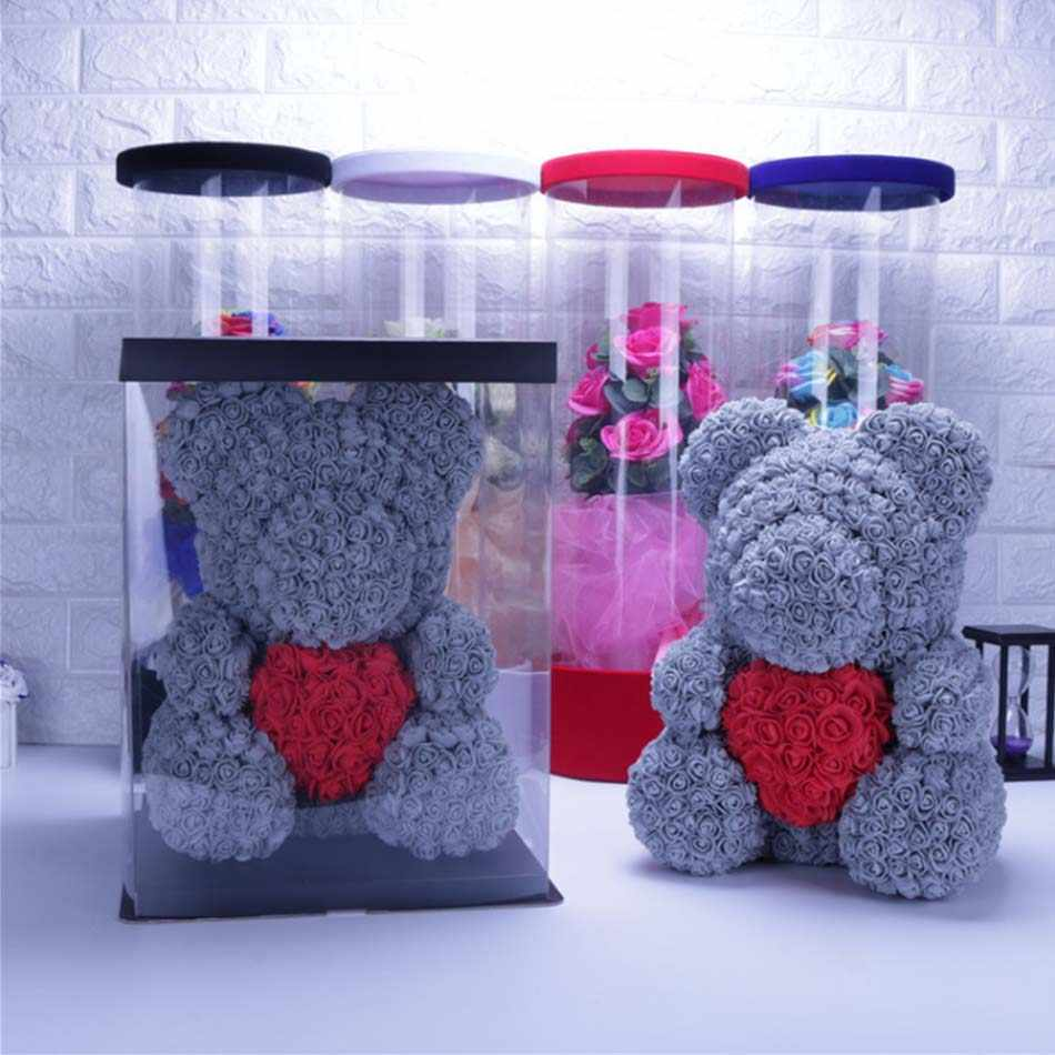 2019 del commercio all'ingrosso 40 centimetri orso rosso rosa teddy bear di rosa artificiale decorazione regalo Di Natale ValentinesDayGift