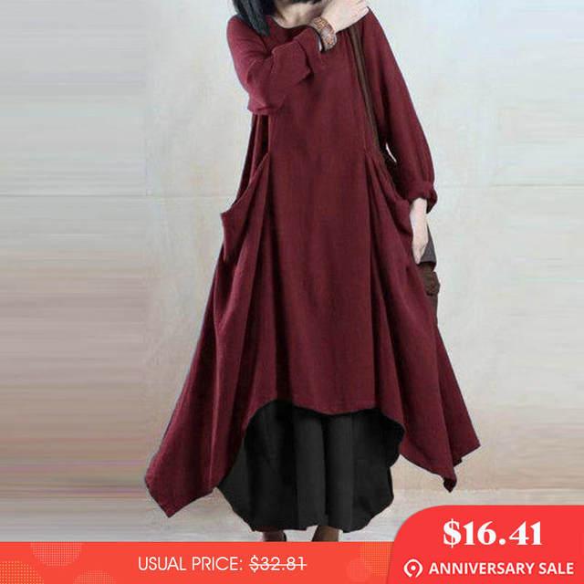 1d2d6e2e Kaftan ZANZEA Women Cotton Linen Dress 2018 Autumn Women Long Sleeve Long  Maxi Vestido O Neck Asymmetric Hem Pockets Baggy Dress