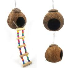 AsyPets Coconut Shell Bird Nest House Hut Cage With Hanging Lanyard Feeder Pet Parrot Finches Sparrows Parakeet Bird(China)