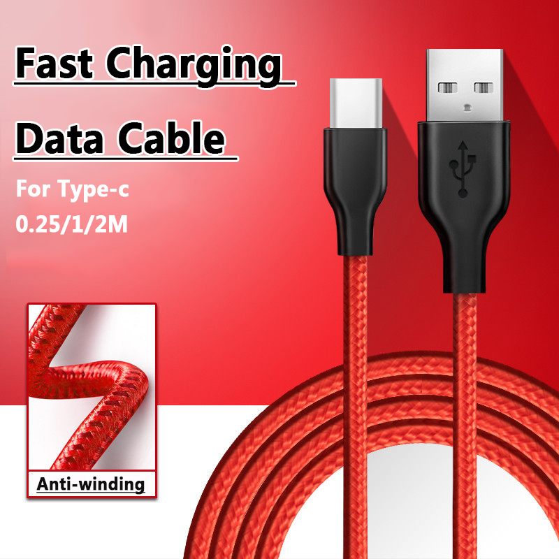 0.25m/1m/2m Quick Charge Braided Type-C To USB Fast Charging Data Cable For Mobile Phone Samsung S9 S8 Plus OnePlus