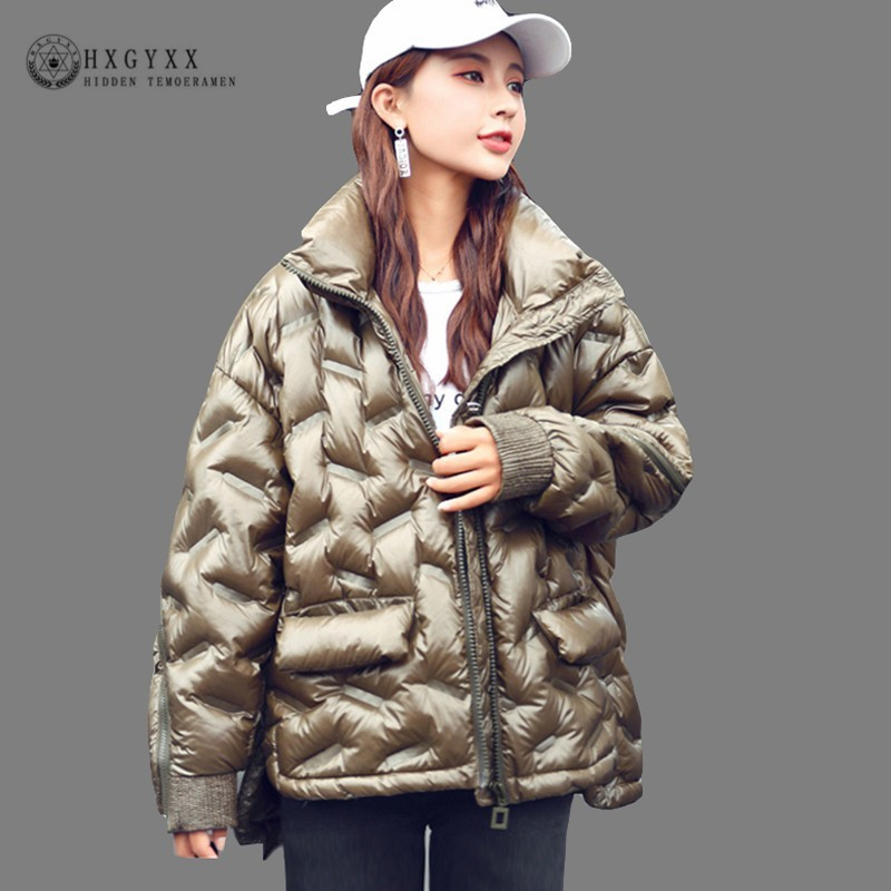 2019 Shiny Winter Puffer Jacket Women White Duck   Down   Feather   Coat   Short Loose Fashion Cloak Parka Female Warm Outerwear Okd624