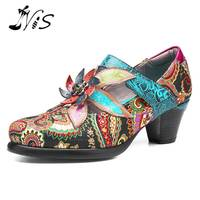 NIS Bohemian Vintage Style Women Pumps Shoes Woman Genuine Leather socofy Spring Summer High Heels Ladies Shoes Fashion 2019