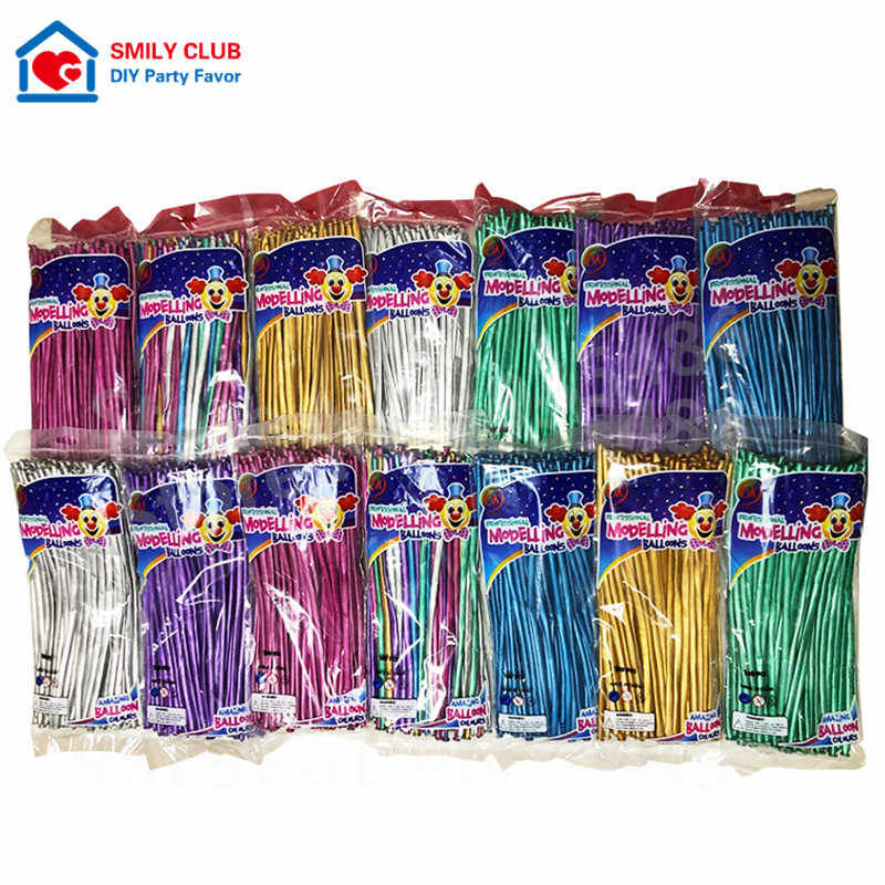 Wholesale Chrome Metal Long Balloon New 1.8g Thickening Magic Strip Balloon Monochromatic Production Blended 260 Strip 100pcs