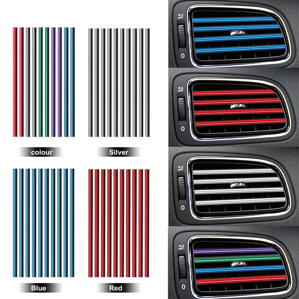 10 Pieces Car Air Vent Trim Strip Car-styling U Shape Diy Air Conditioner Outlet Grille Decoration Chrome Styling Moulding