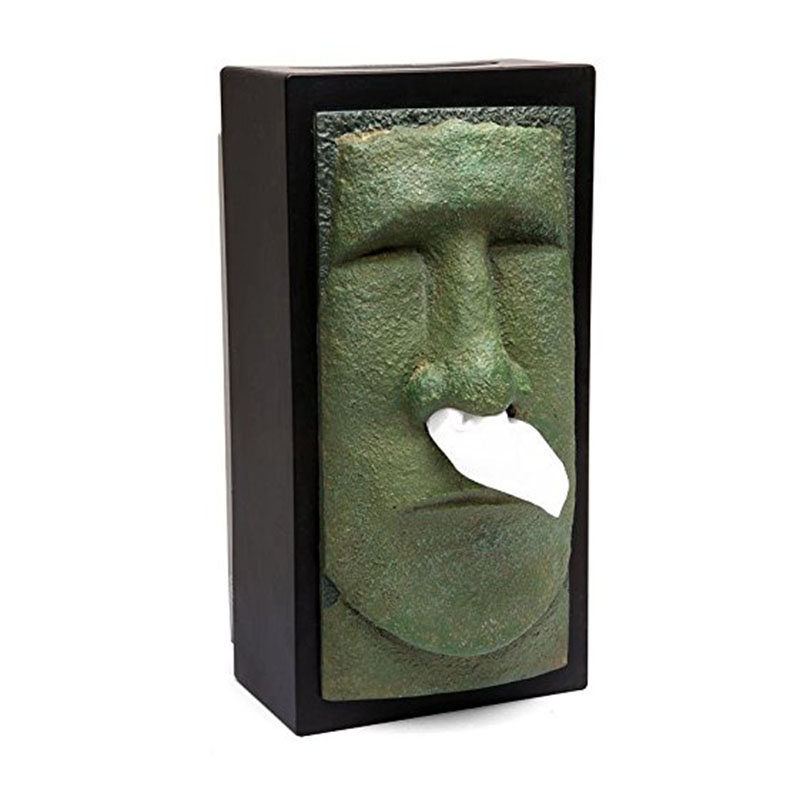 1 Piece Easter Island Head Sir Tissue Box Easter Island Stone Statue Knight Head Tiki cover Creative Home Office Tissue Holder in Tissue Boxes from Home Garden