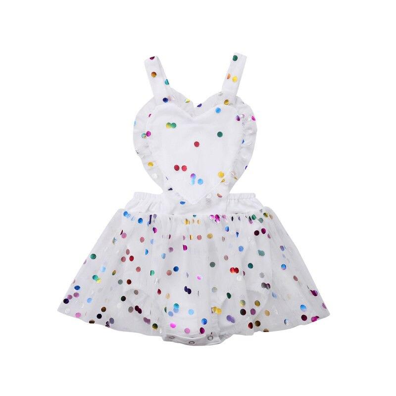 0-24 M Nette Neugeborene Baby Mädchen Sleeveless Backless Polka Dot Herz Sharp Prinzessin Mädchen Romper Kleid Kleidung Schnelle WäRmeableitung