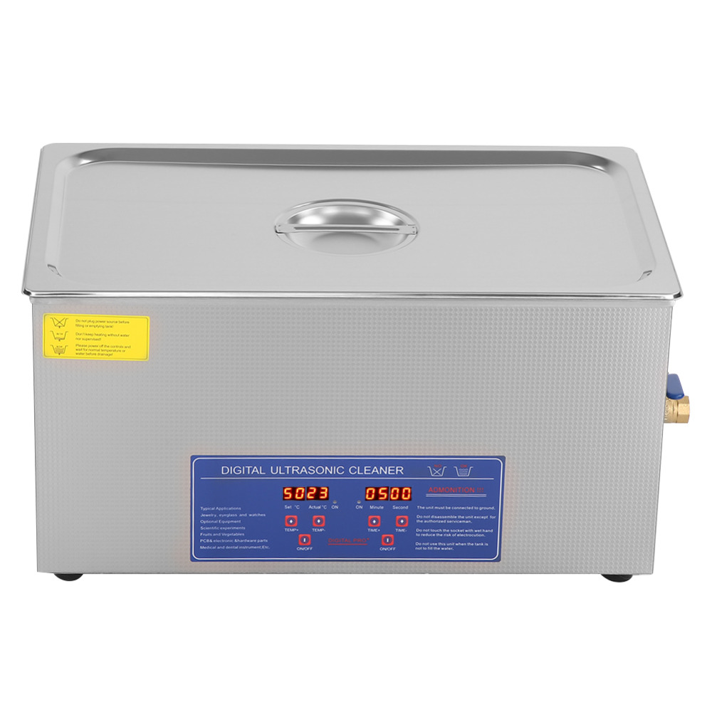 480W 22L Ultrasonic Jewelry Cleaner with Knob Control Timer Heater Stainless Baskets for Ring Glasses Tooth False -in Ultrasonic Cleaners from Home Appliances    3