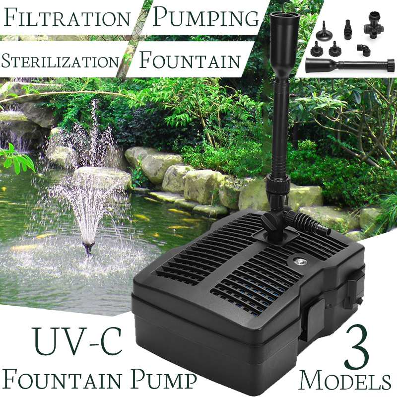 25w/42w/54w  Uv C Lamp Sterilization Filtration Water Pump Fountain Pond For Bird Bath Garden Decor Outdoor Pool