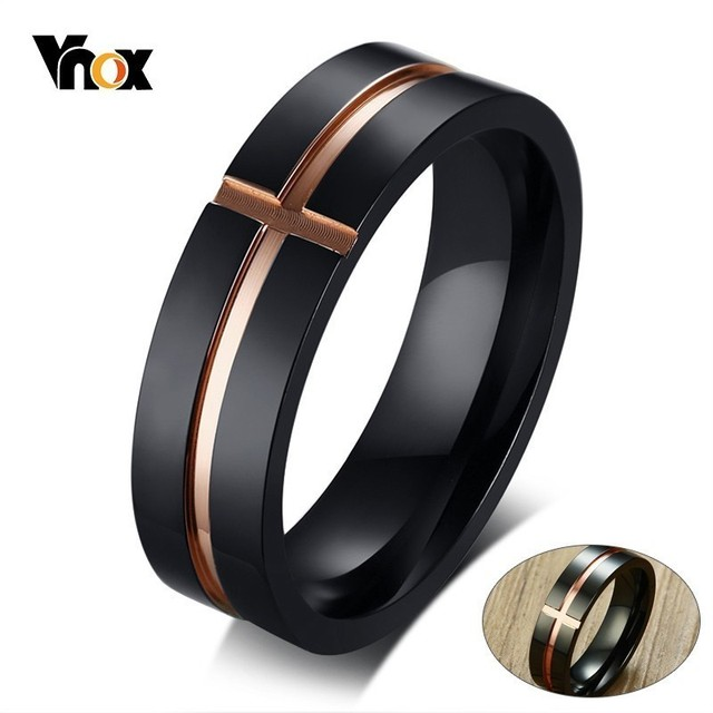 Vnox Stylish Men's Stainless Steel Ring 585 Rose Gold and Blue Two Tones Cross Male anillo masculino