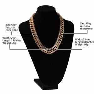 Image 5 - UWIN 2 القلائد الأزياء الهيب هوب مجوهرات 13 مللي متر الكوبي ربط سلسلة مع 5 مللي متر مثلج خارج الراين تنس سلاسل الذهب قلادة ملونة