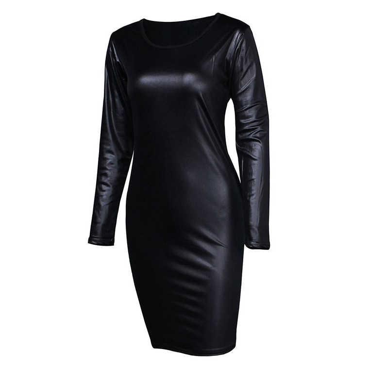 Одежда для клуба, для вечеринки платье Для женщин сексуальные мини-Кожаные модельные туфли плюс Размеры черный Fahsion сращивания молнии футляр с длинными рукавами