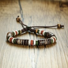 Vnox Holiday Natural Stone Beaded Bracelets for Men Women Adjustable Length Multi Color Beads Casual Male Jewelry Rope Pulseira