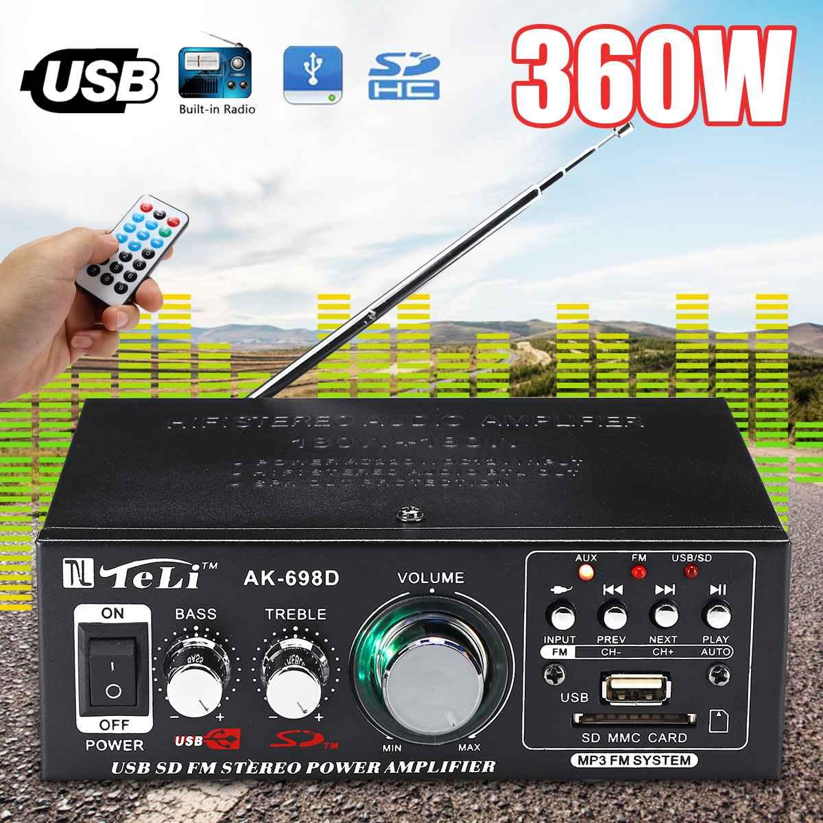360W HIFI Mini 2CH Audio Amplifier Stereo Power FM Radio 12V/ 220V Car Amplificador Home Theater Amplifiers Music Player