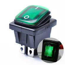 Rocker Toggle Switch On-Off-On 4 Pins 12V DC Car Boat Automobiles Waterproof LED Latching Switches (Green Light)(China)
