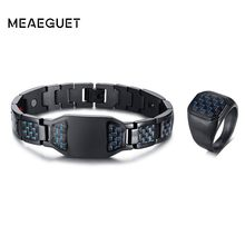 Men Set Jewelry Stainless Steel Black Blue Carbon Fiber Inlay 1pcs Persoanlized ID Bracelet With 1pcs Ring Free Engraving(China)