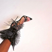 2019 New Feather Studded Woman Sandals Stilettos Shoes Summe
