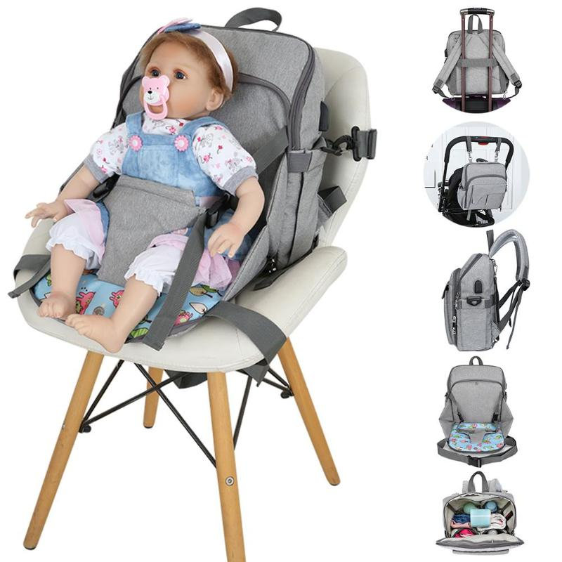 Folding Waterproof Mummy Diaper Handbag Dining Seat Chair USB Port Maternity Nursing Baby Nappy Backpacks