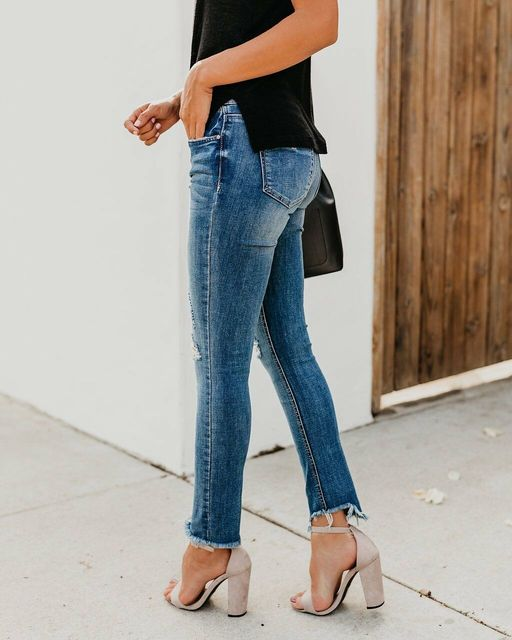 Newest Hot Women Stretch Ripped Distressed Skinny High Waist Denim Pants Shredded Jeans Trousers 5