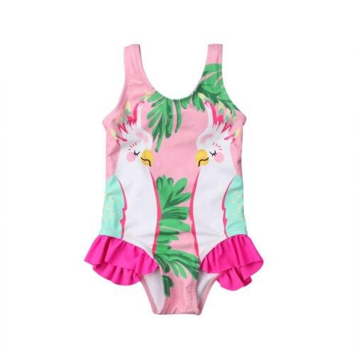 NEW Girls Parrot Pink Ruffle Swimsuit Bathing Suit 2T 3T 4T 5T 6