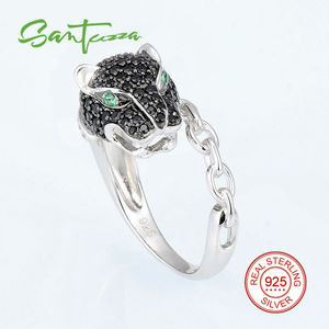 Image 4 - SANTUZZA Silver Ring For Women 925 Sterling Silver Innovative animal Leopard Black Spinels Ring Unique Party Fashion Jewelry