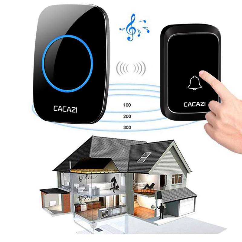 Cacazi Wireless Waterproof Doorbell Led Light Battery Button 58 Chime Home Cordless Calling Bell 300M Remote ControlCacazi Wireless Waterproof Doorbell Led Light Battery Button 58 Chime Home Cordless Calling Bell 300M Remote Control