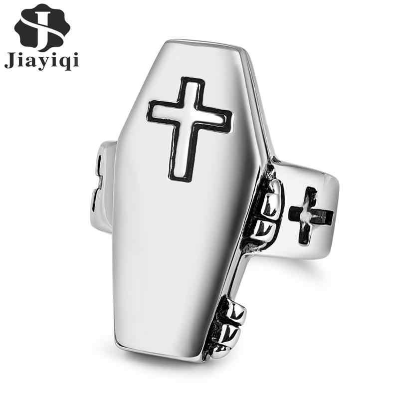 Jiayiqi Европа готический крест кольцо для мужчин Панк из нержавеющей стали религиозное кольцо