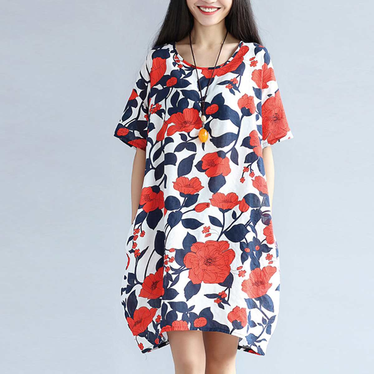 Plus Size 5XL Vintage Floral Print Dress Women Summer Cotton Loose Round Neck Dresses Elegant Retro Robe Casual Midi Vestidos