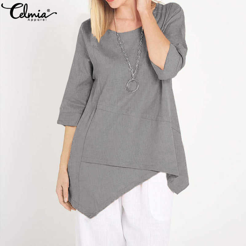 Celmia 2019 Summer Tunic Tops Women Crew Neck Half Sleeve Blouses  Asymmetrical Vintage Blusas Femininas Casual Loose Shirts 5XL