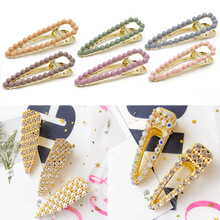 Fashion 1PC Frosted Imitation Pearl Geometry Women Hairpins Graceful Water Drop Hair Clips Crystal Candy Color Barrette