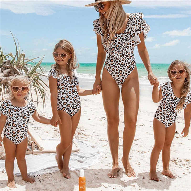 5eed48005f Mother And Daughter Swimsuit New Leopard Print Mommy And Me Swimwear Family Swimwear  One Piece Swimsuit