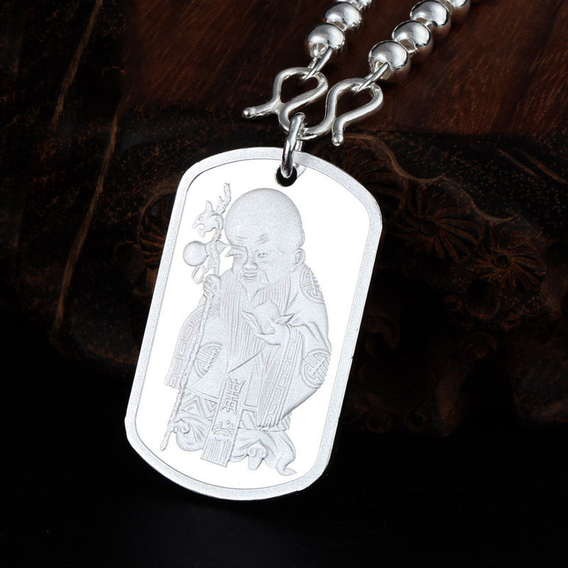 Real S990 Sterling Silver Pendant Bless Square With  Monk PendantReal S990 Sterling Silver Pendant Bless Square With  Monk Pendant