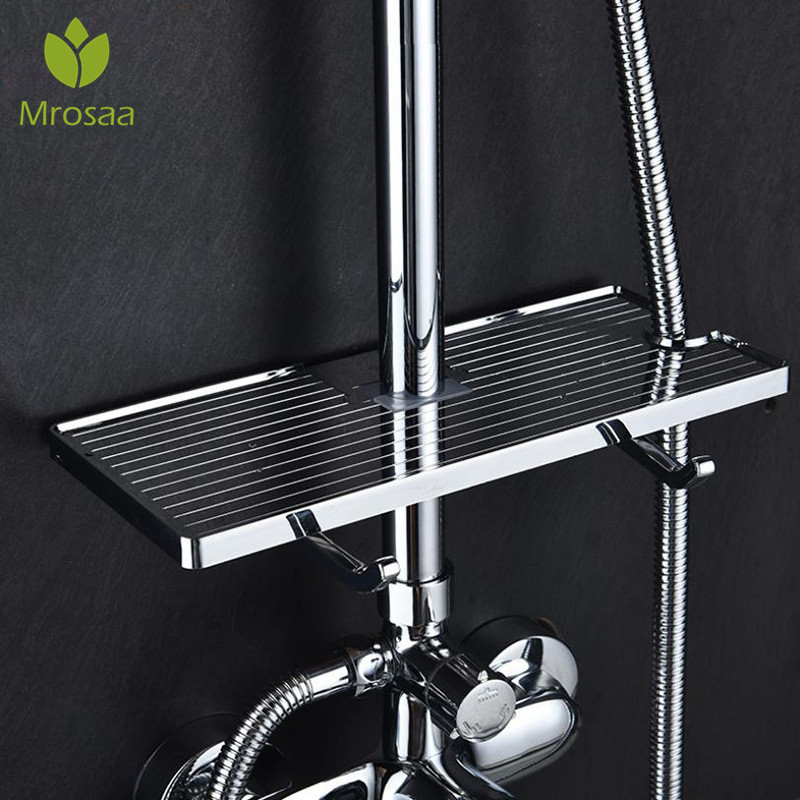 Chrome Bathroom Shelf Shower Storage Rack Holder Shampoo Bath Towel Tray Single Tier Shower Head Holder Shower Rod Hanging Rack