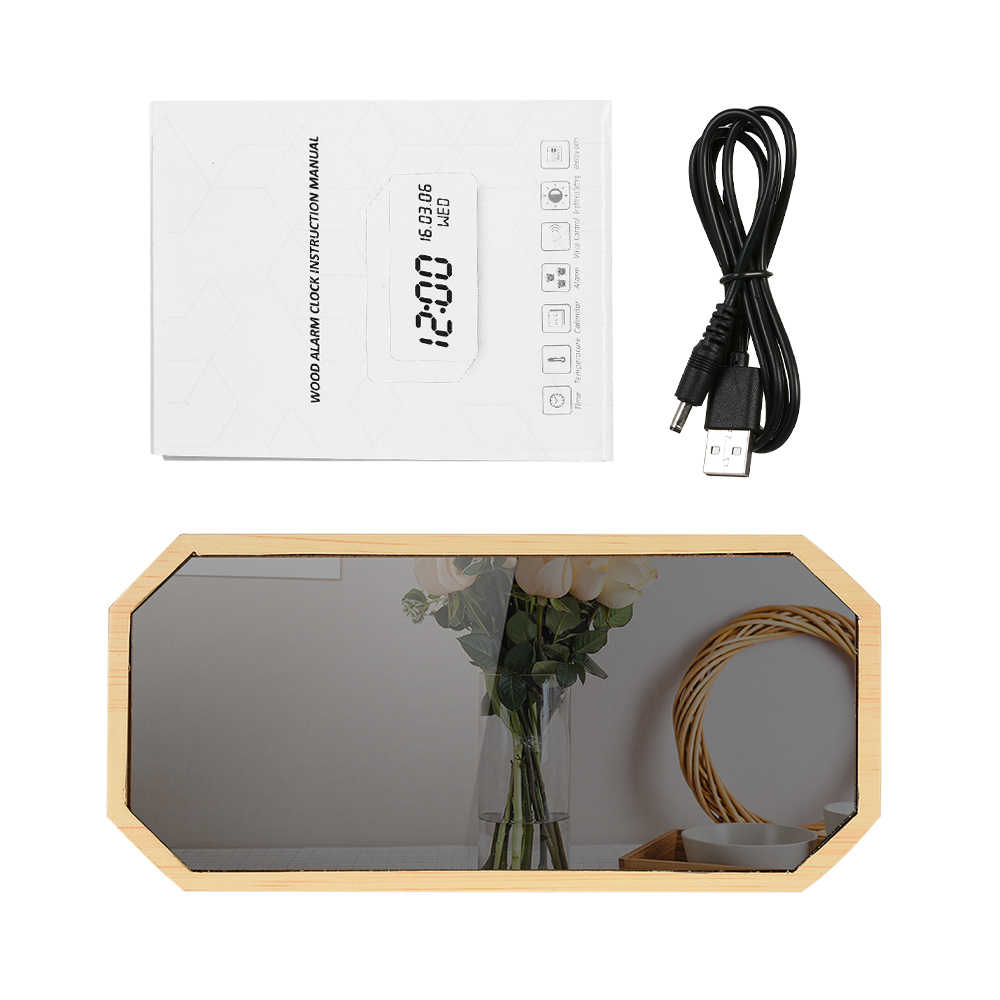 Деревянный светодиодный цифровой будильник Звуковое управление Будильник с зеркалом USB/на батарейках диммер термометр настольные часы будильника