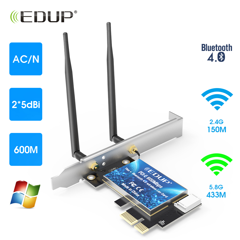 EDUP Dual Band 600Mbps AC PCI -E WiFi Adapter Desktop Wireless Card Adapter With 2 Antennas BT4.0 For PC Network Card