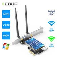 Edup 600 mbps ac pci-e wi-fi sem fio adaptador de cartão antenas bt4.0 para desktop