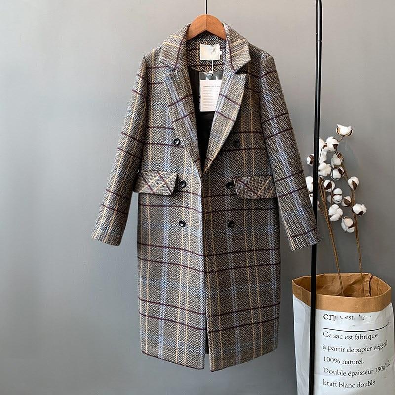 Laine Longue Coton Rembourré 2018 Restaurer Féminin Manteau Unique Marron Femmes Blazer Outwear Long Poitrine Lâche De gris D'hiver Plaid gtzPWt